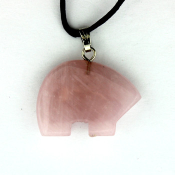 Rose Quartz Zuni Bear Pendants