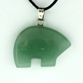 15X20mm Plain Zuni Bear Green Aventurine Jewelry