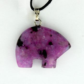 Dyed Purple Quartz Glass Zuni Bear Pendants