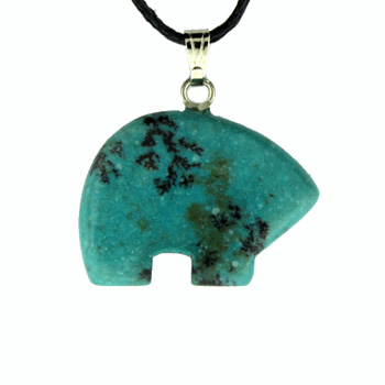 18X25mm Plain Zuni Bear Dyed Blue Turquoise Stone Jewelry