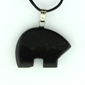 18X25mm Plain Zuni Bear Black Jasper Jewelry