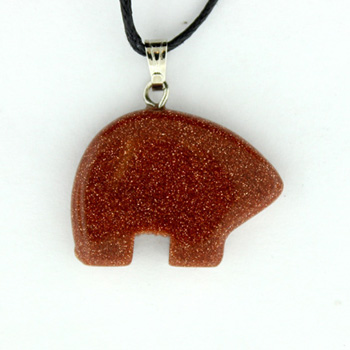 Brown Goldstone Man Made Zuni Bear Pendants