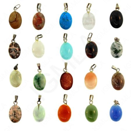 Assorted Stone Oval Pendants