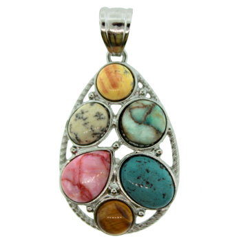 28x43mm assorted stone drop pendants igm 28x43mm d inlay drop6pcs assorted stones pendants jewelry aloadofball Image collections