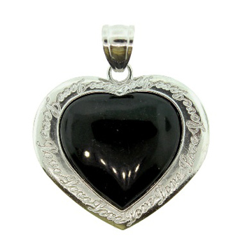 42mm Inlay Heart Gallery Endless Love Black Jasper Jewelry