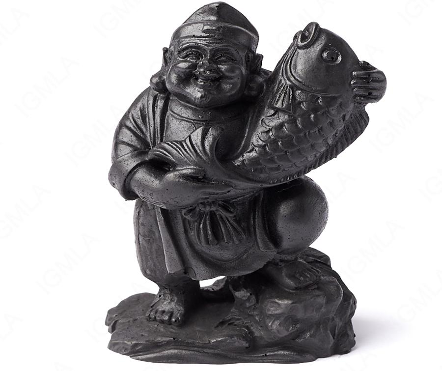 Shungite Hotei with sacred fish Carving