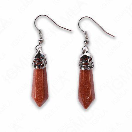 Brown Goldstone Point Earrings