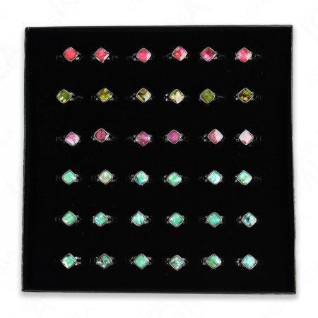 Paua Shell Square Rings 36 Pc Box