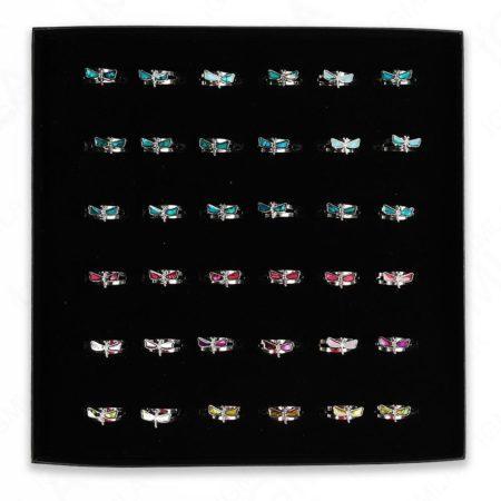 Paua Shell Mix Colors Dragon Fly Rings 36 Pc Box