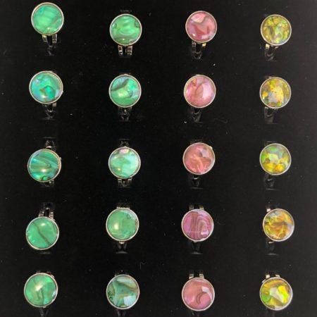 Paua Shell Round Rings 36 Pc Box