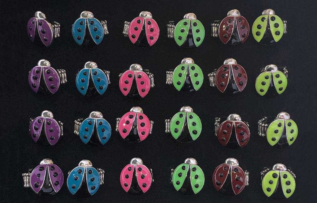 Yellow, Red, Pink, Purple, Blue, Green Lady Bug Rings 24 Pc Box