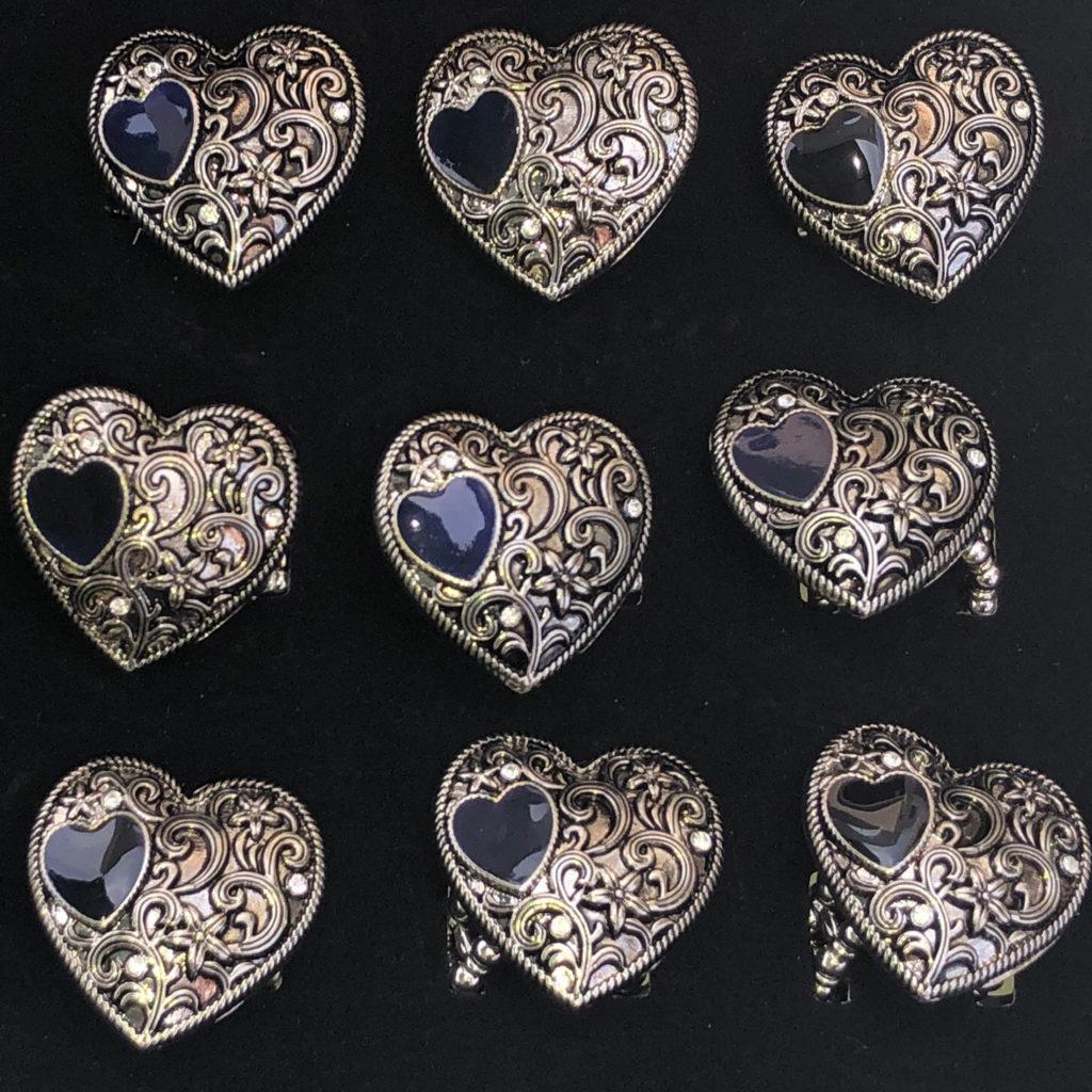 Zinc Alloy Heart-Black Rings 24 Pc Box