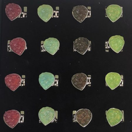 6 Color Assorted Druzy Pear Rings 24 Pc Box