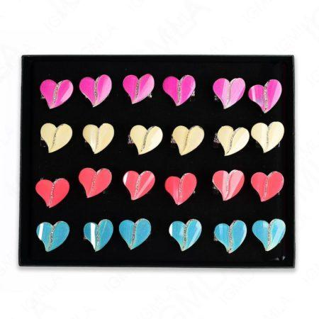 Assorted Colors Split Heart Rings 24 Pc Box