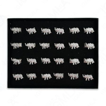 Clear Rine Stone Elephant Rings 24 Pc Box