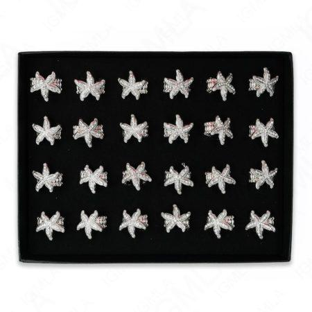 Clear Rine Stone Star Fish Rings 24 Pc Box