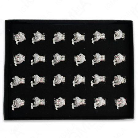 Clear Rine Stone Dolphin Rings 24 Pc Box