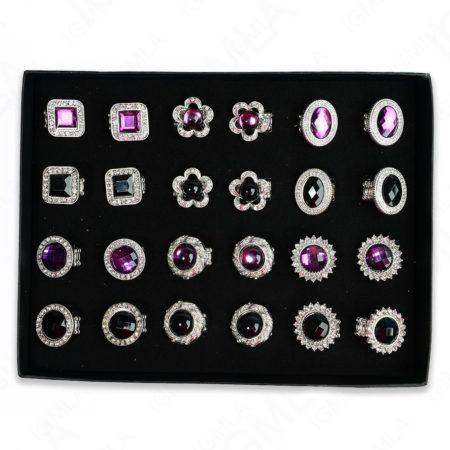 Black /Purple Asstorted Shapes Rings 24 Pc Box