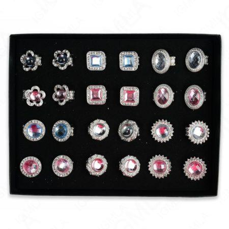 Pink / Light Blue Assorted Shapes Rings 24 Pc Box