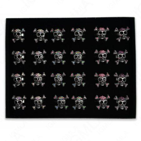 Burnish Silver Plated Ab Clear 8Pc Multi Skull Rings 24 Pc Box