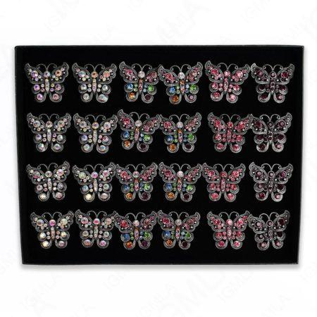 Burnish Silver Plated Ab Clear 8Pc Multi Butter Fly Rings 24 Pc Box