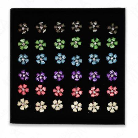 Assorted Colors Flower Rings 36 Pc Box