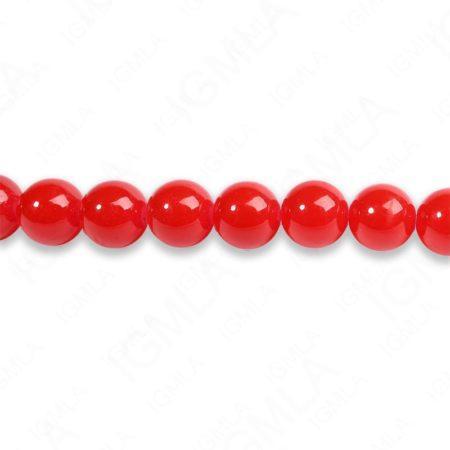 8mm Red Glass Round Beads