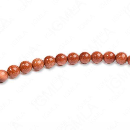 8mm Brown Golstone Round Beads