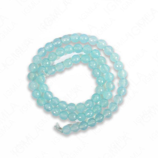 16″ 6mm Sea Blue Chalcedony Round Faceted Beads