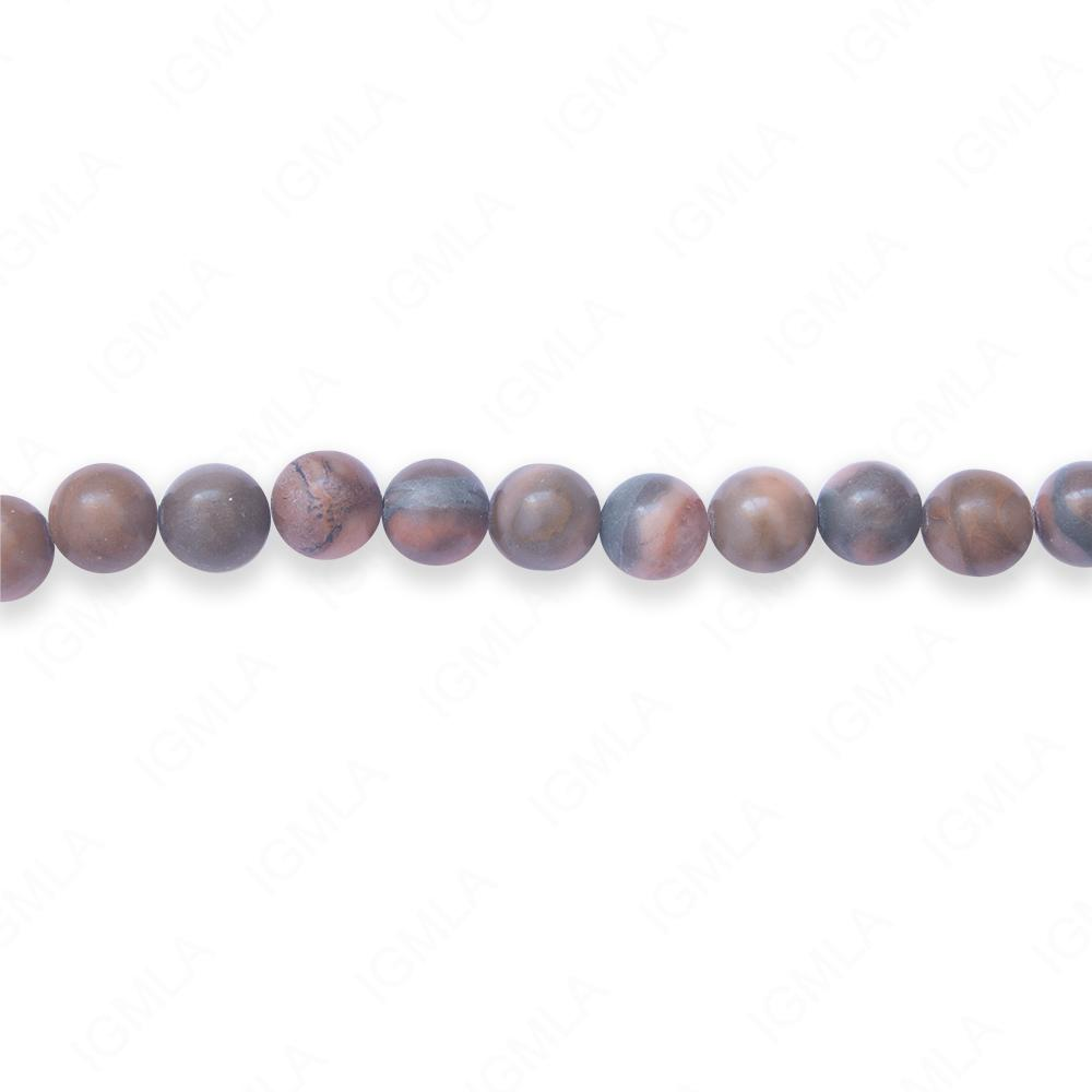 16″ 6mm Pink Line Stone Natural Round Beads