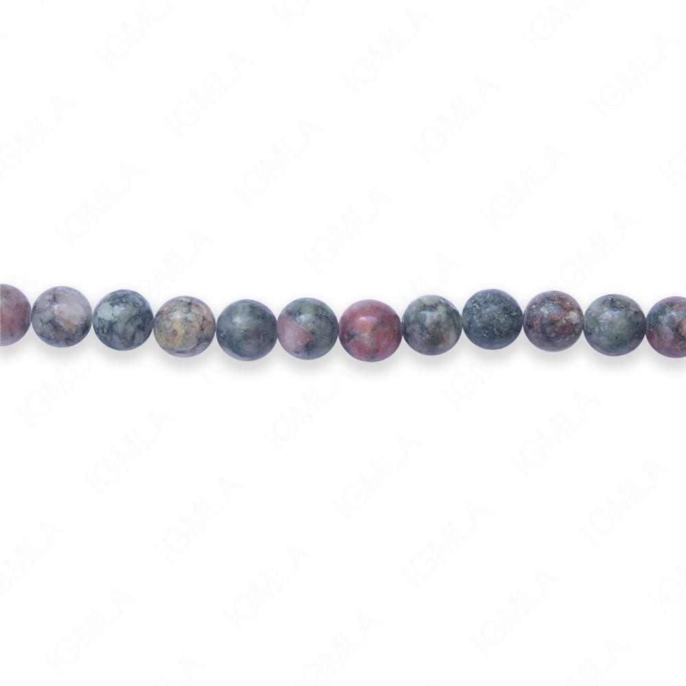 16″ 6mm Chinese Ruby & Zeosite Natural Round Beads