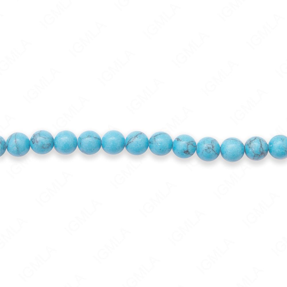 16″ 6mm Line Turquoise Round Beads