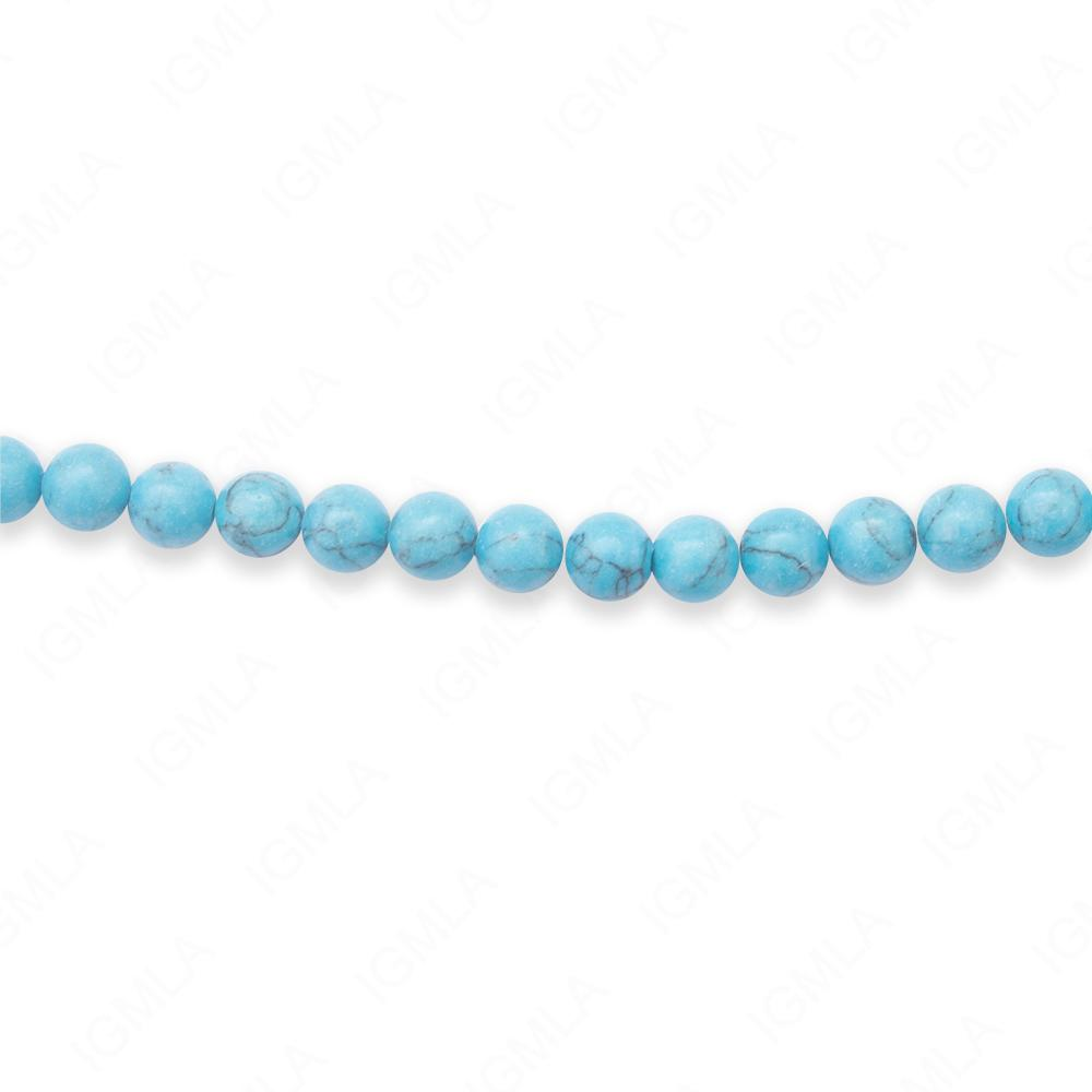16″ 6mm Synthetic Black Line Turquoise Round Beads