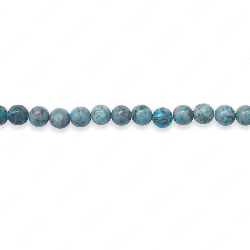 16″ 6mm Blue Laguna Lace Dyed Round Beads