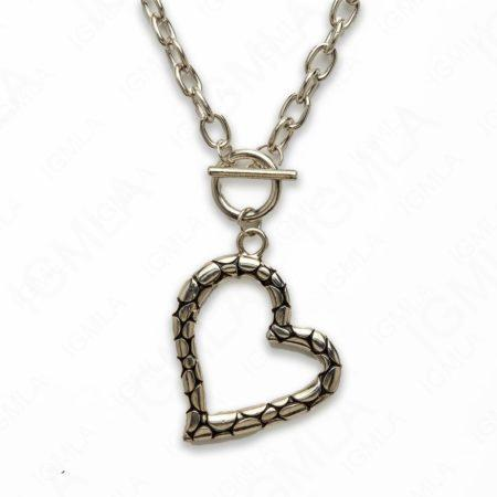 Zinc Alloy Silver Plated Heart Necklace