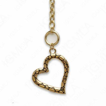 Zinc Alloy Gold Plated Heart Necklace