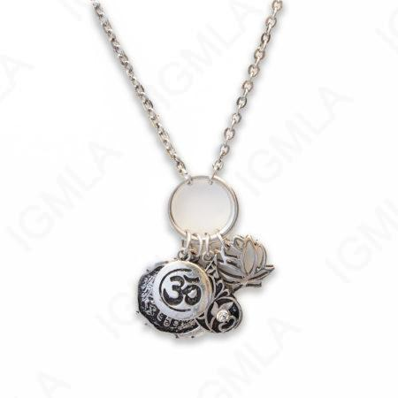 Zinc Alloy Rhodium Plated Assorted Charm Necklace
