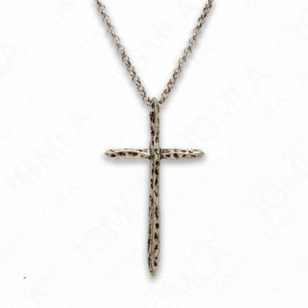 Zinc Alloy Rhodium Plated Cross Necklace