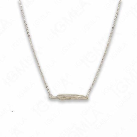 Zinc Alloy Silver Plated Feather Necklace