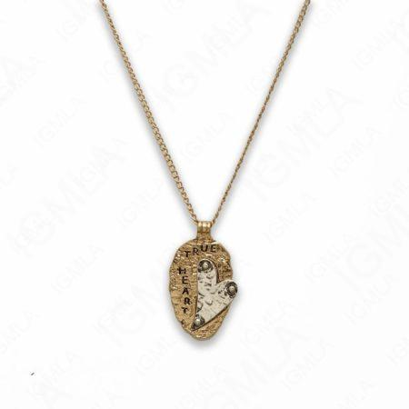 Zinc Alloy True Heart Gold and Silver Plated Oval Necklace