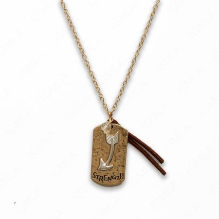 Zinc Alloy Strength Gold with Silver Arrowhead Rectangle Necklace