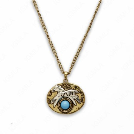 Zinc Alloy Syn Turquoise Round Cab Gold with Silver Plated Horse Free Form Necklace