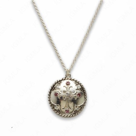 Zinc Alloy Purple & Crystal Rhinestone Silver Plated Cross Necklace