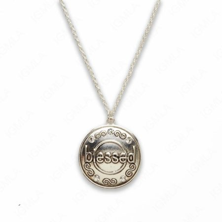 Zinc Alloy Blessed Silver Plated Round Necklace