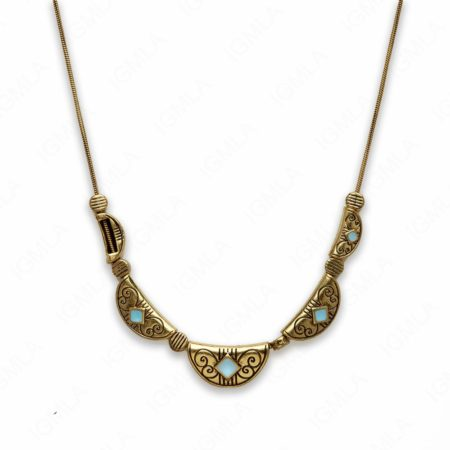 Zinc Alloy Syn Turquoise color W Antique Gold Plated Necklace