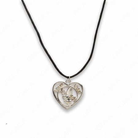 Zinc Alloy Love, Kiss W Wax Cord Silver Plated Heart Necklace