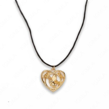 Zinc Alloy Love, Kiss W Wax Cord Gold Plated Heart Necklace