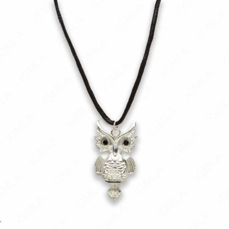Zinc Alloy Silver Plated Black Cord Owl Necklace