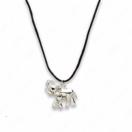 Zinc Alloy Silver Plated Black Cord Elephant Necklace