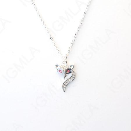 Zinc Alloy Rhinestone Silver Plated Fox Face Necklace
